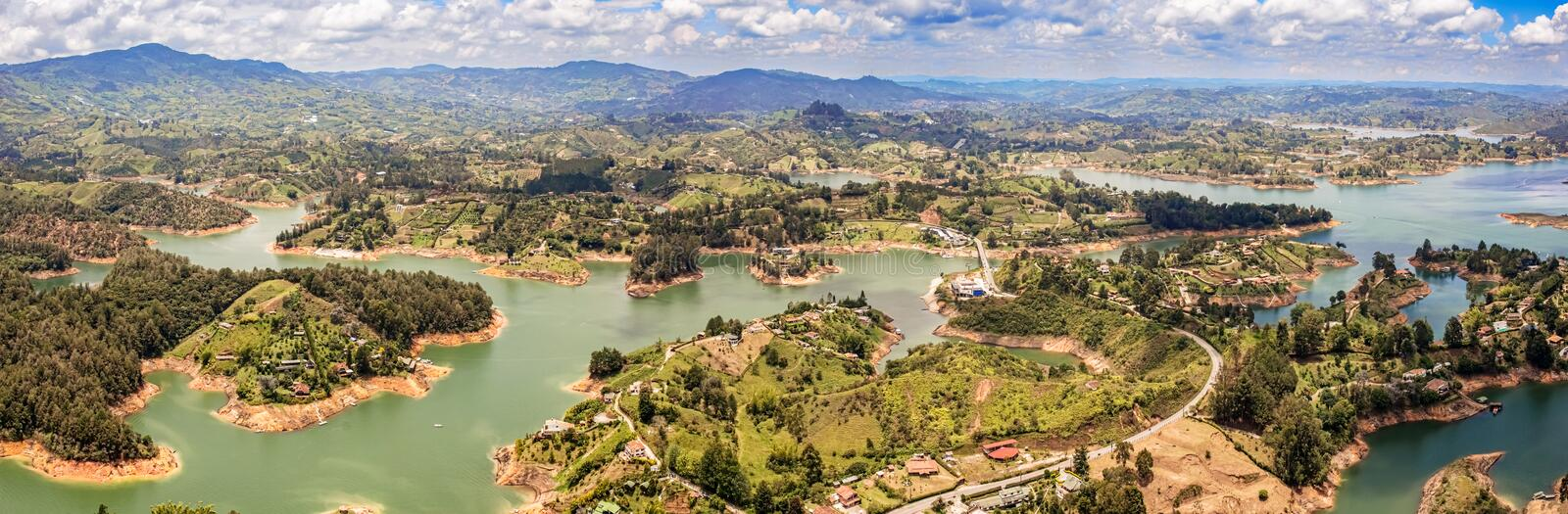 Aerial view of Guatape, Penol, dam lake in Colombia. Aerial view of Guatape, Penol, dam lake in Colombia as seen from the viewpoint at the top of The rock El stock photos