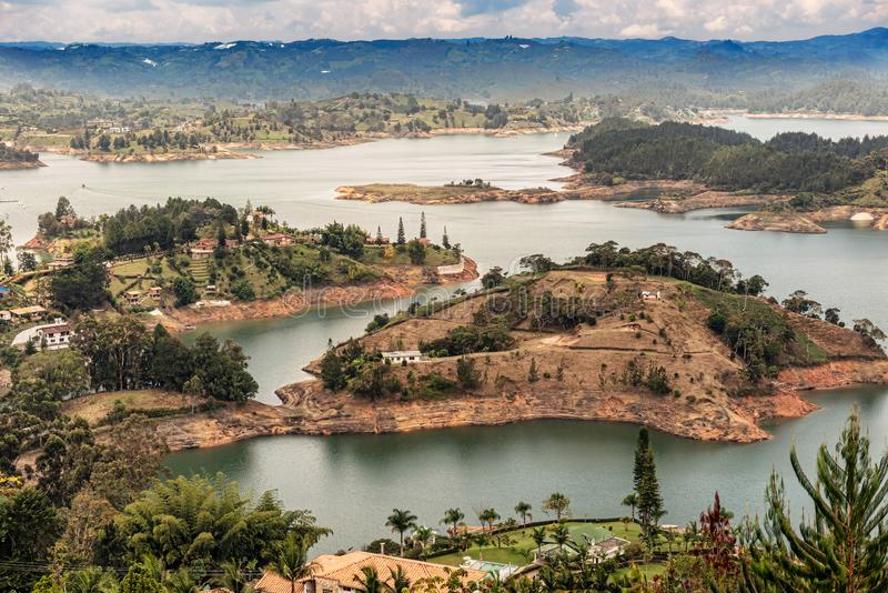 Aerial view of Guatape, Penol, dam lake in Colombia. Aerial view of Guatape, Penol, dam lake in Colombia as seen from the viewpoint at the top of The rock El royalty free stock photography