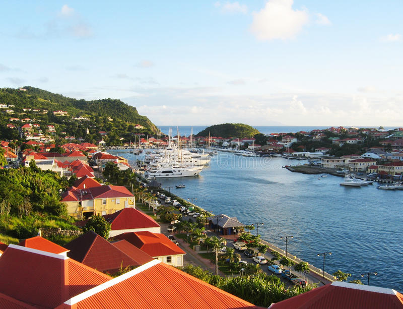 Aerial view at Gustavia Harbor with mega yachts at St Barts stock photography