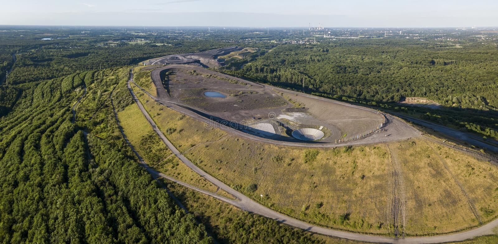 Aerial view of Halde Haniel - former largest mine dump in the Ruhr area royalty free stock images
