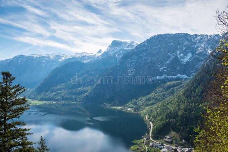 Aerial View is hallstatt city background mountain Alps stock photos