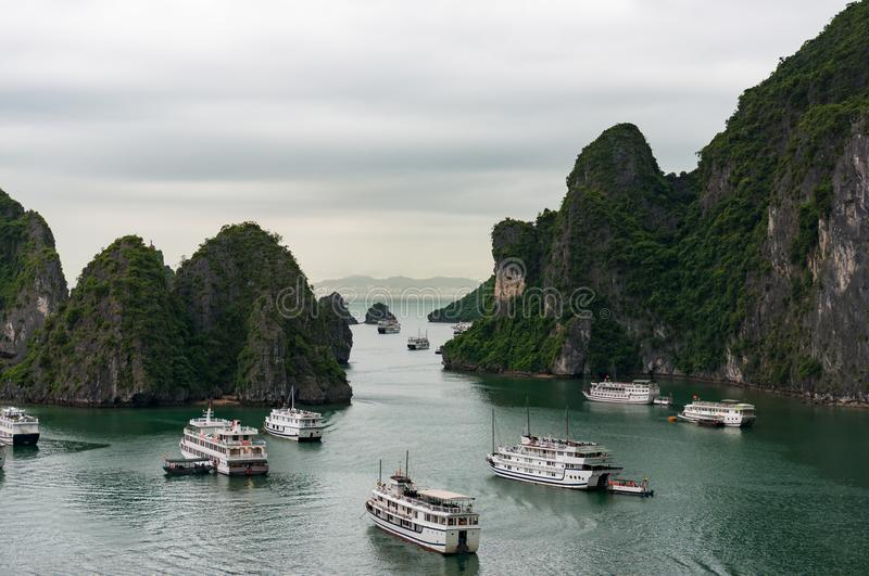 Aerial view on Halong bay with cruise ships and boats stock photos