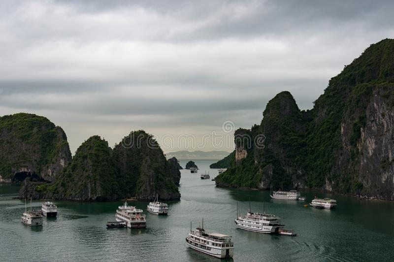 Aerial view on Halong bay with cruise ships and boats royalty free stock photos