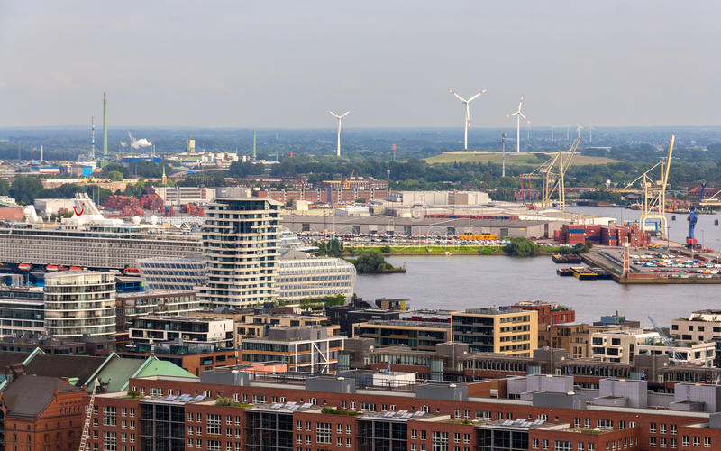 Aerial view of Hamburg, Germany royalty free stock image