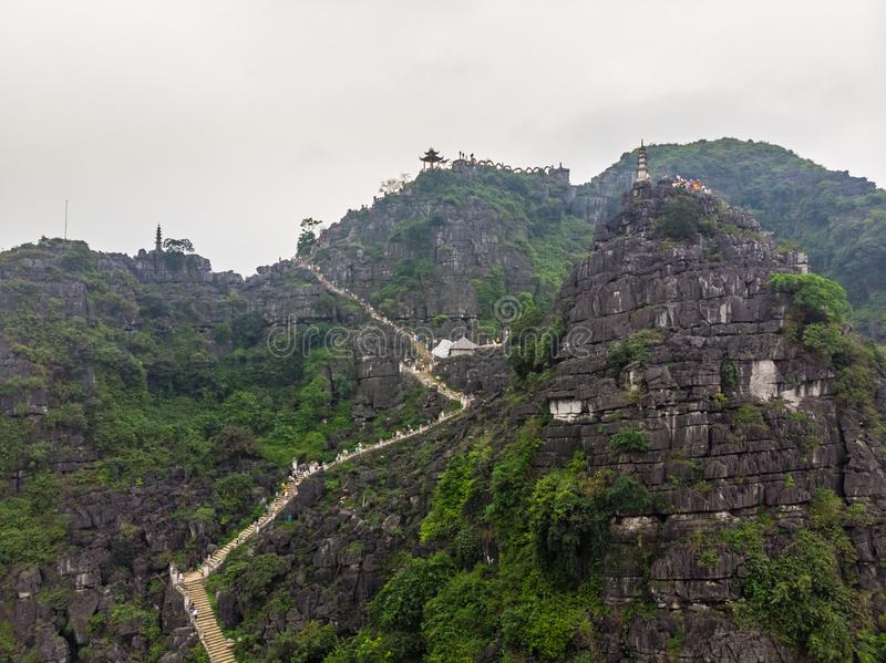 Aerial view of Hang Mua, pagoda and viewpoint. Ninh Binh, Vietnam stock photography