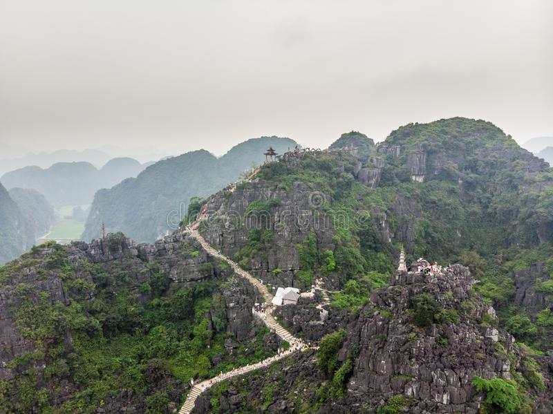 Aerial view of Hang Mua, pagoda and viewpoint. Ninh Binh, Vietnam royalty free stock image
