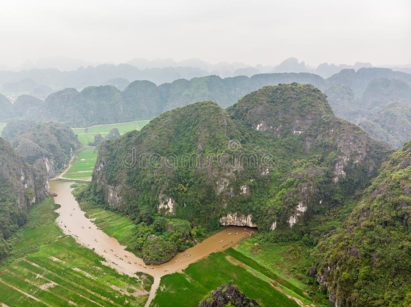 Aerial view from of Hang Mua of river, mountains and Ninh Binh provinc. E, Vietnam royalty free stock photos