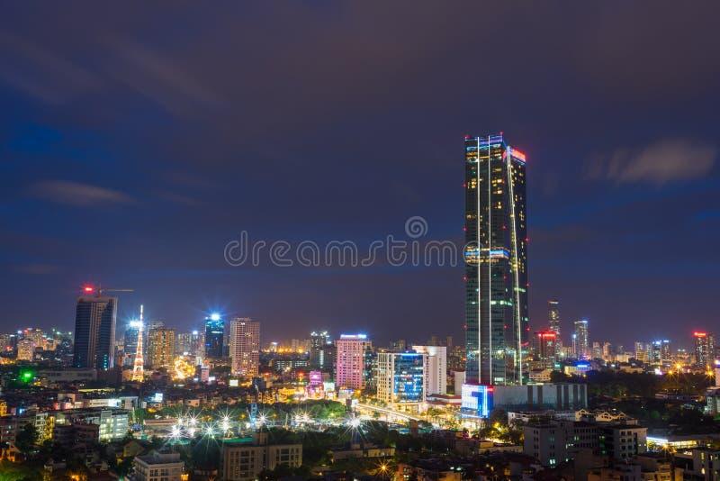 Aerial view of Hanoi cityscape at Lieu Giai street - Dao Tan street - Kim Ma street, Ba Dinh district. Hanoi skyline at twilight.  royalty free stock photography