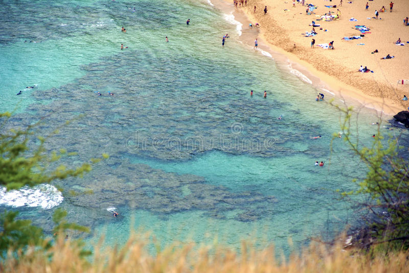 Aerial view of Hanuma Bay beach on Oahu Island Hawaii with unrecognizable bathers royalty free stock photos