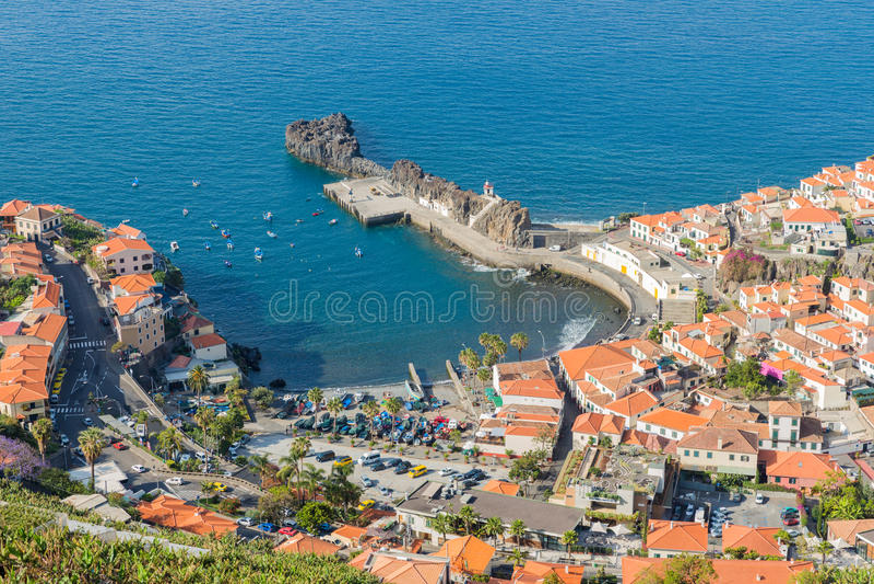 Aerial view harbor of Camara do Lobos at Madeira Island royalty free stock photo