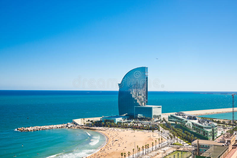 Aerial view of the Harbor district in Barcelona stock photo