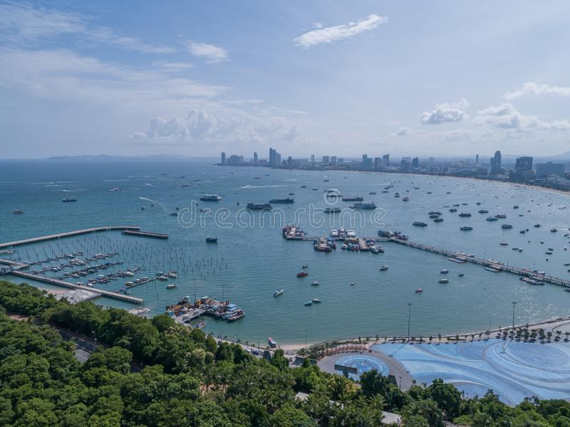Aerial View on Harbor with Luxury Yachts - Sailboat harbor, many beautiful moored sail yachts in the sea port WITH blue sky clouds stock images