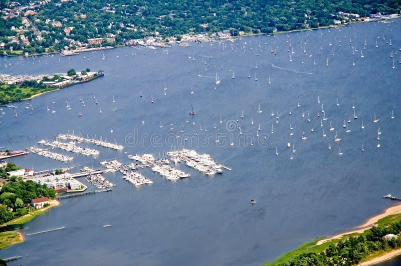 Aerial view harbor and marina royalty free stock photo