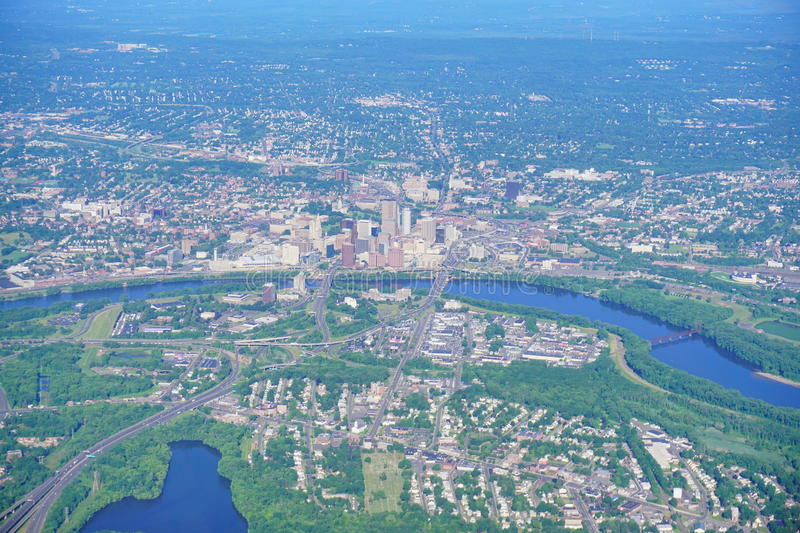Aerial view of Hartford down town royalty free stock image