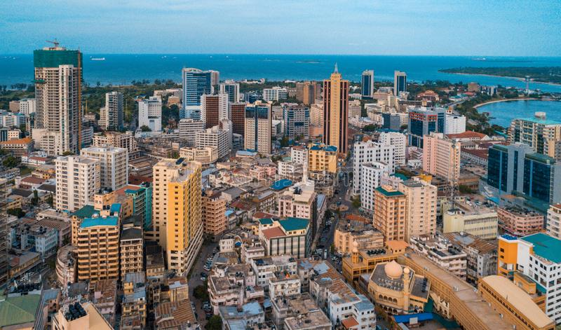 Aerial view of the haven of peace, city of Dar es Salaam royalty free stock photos