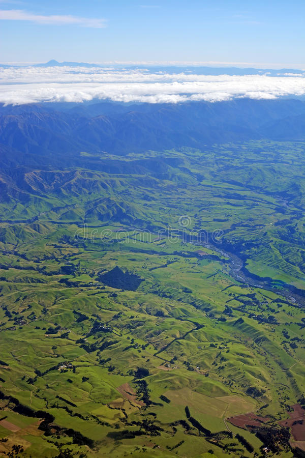 Aerial view of Hawkes Bay Farmland and Ruahine Ranges royalty free stock photography