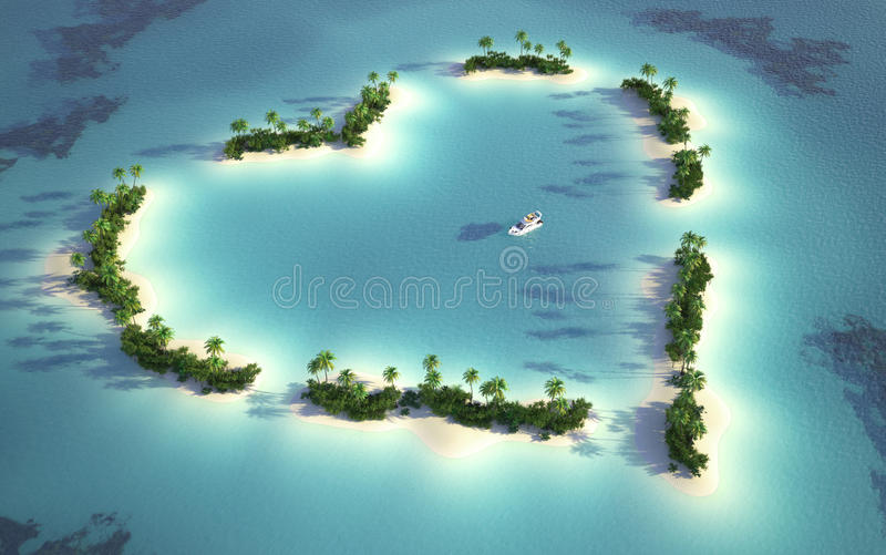 Aerial view of heart-shaped island royalty free illustration
