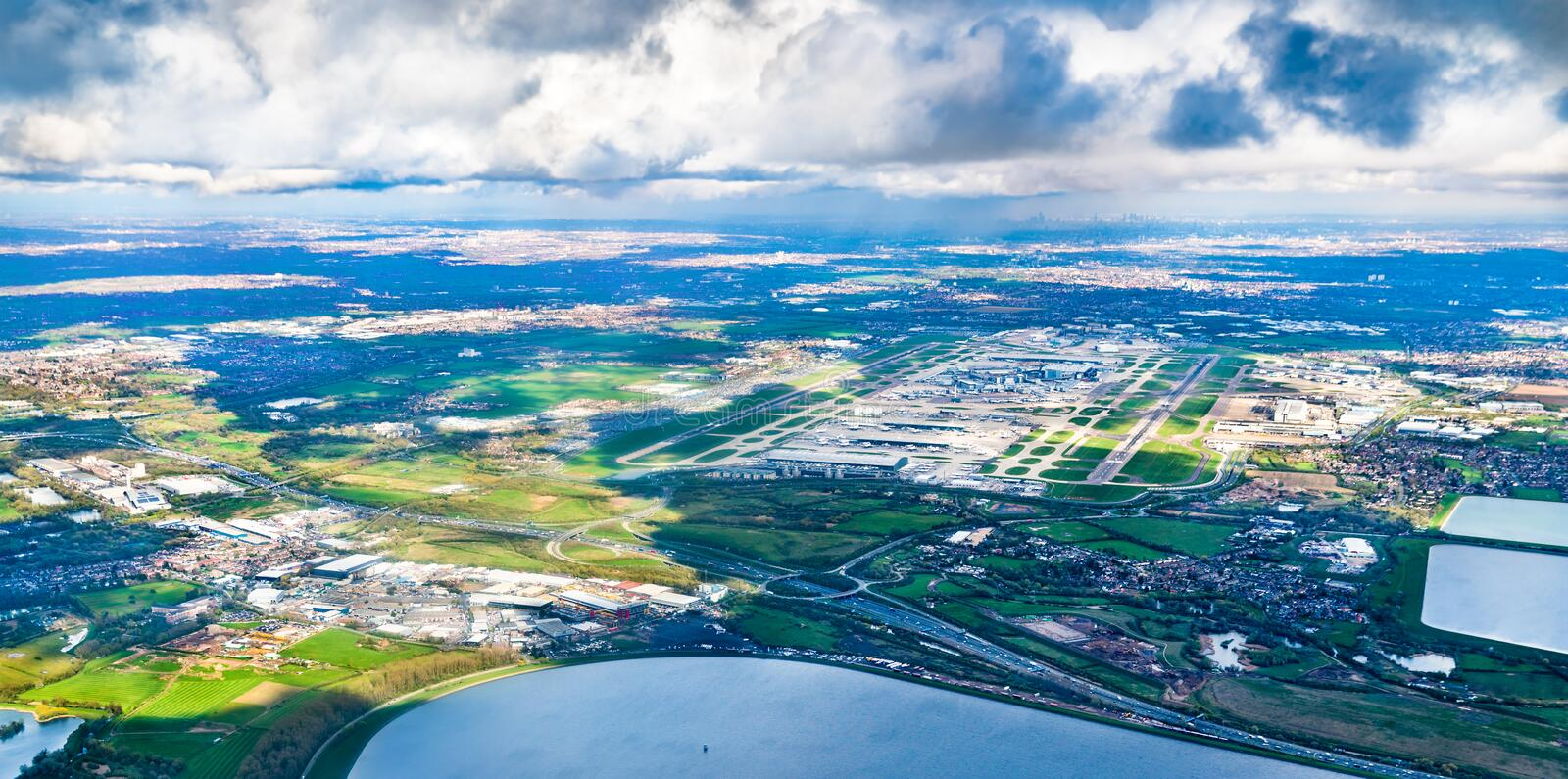 Aerial view of Heathrow Airport in London, UK. Aerial view of Heathrow Airport in London, England royalty free stock photography