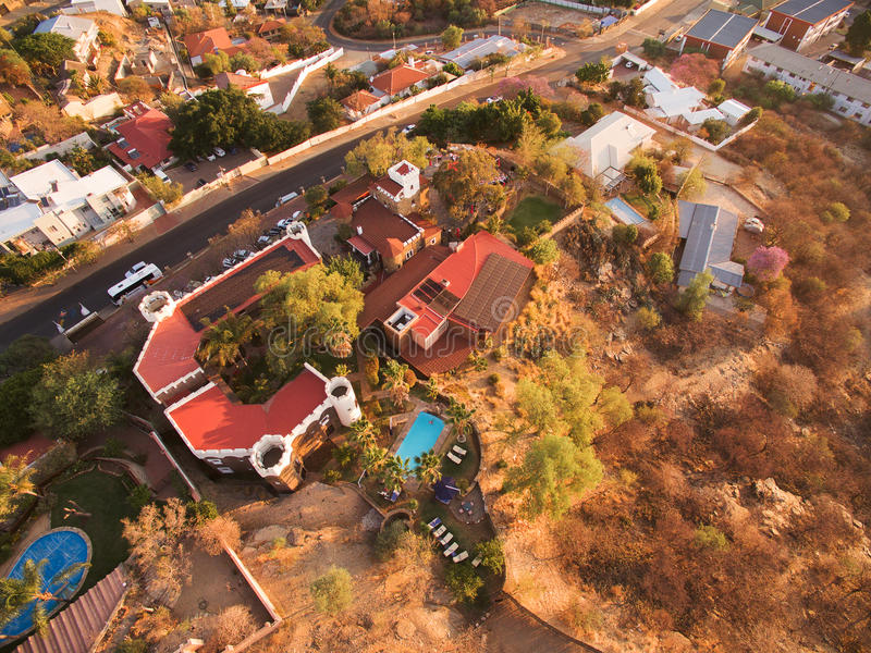 Aerial view of Heinitzburg castle in Windhoek. In Namibia, taken by Phantom drone from above - sky view stock photo