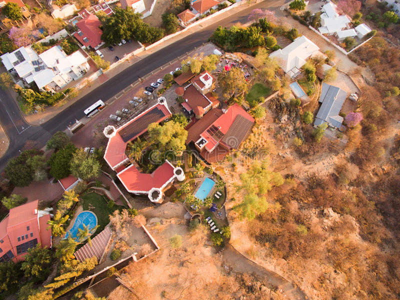 Aerial view of Heinitzburg castle in Windhoek. In Namibia, taken by Phantom drone from above - sky view royalty free stock photography