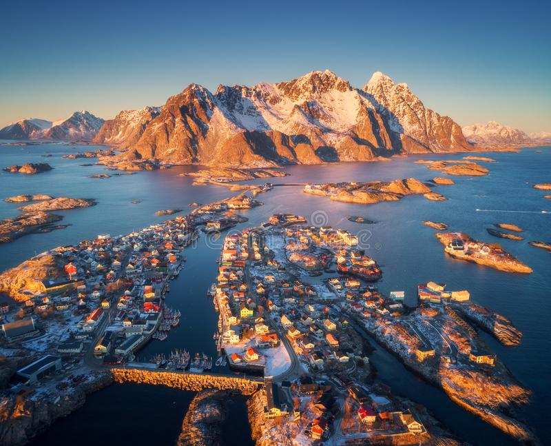 Aerial view of Henningsvaer at sunset in Lofoten islands, Norway stock image