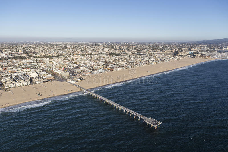 Aerial View of Hermosa Beach Pier in Southern California royalty free stock photography