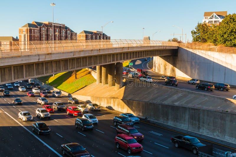 Aerial view of highway, Atlanta, USA royalty free stock photo