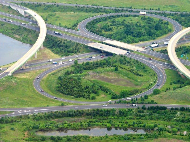 Aerial view of highway cloverleaf. Aerial view of a modern highway cloverleaf interchange stock photography