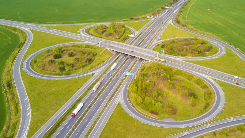 Aerial view of highway crossroad junction stock photography