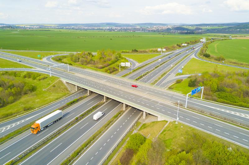 Aerial view of highway crossroad junction royalty free stock photo