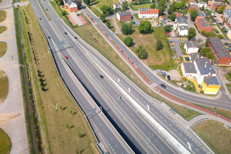 Aerial view of the highway in Gdansk, Poland stock photo