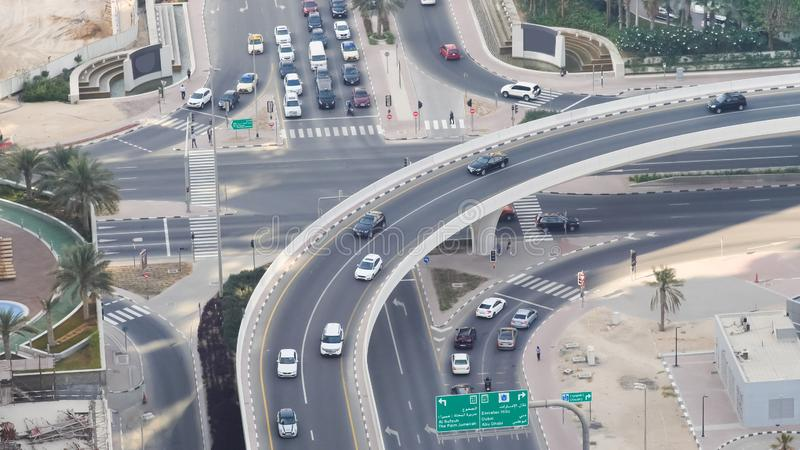 Aerial view of highway interchange of modern urban city. Dubai. royalty free stock images