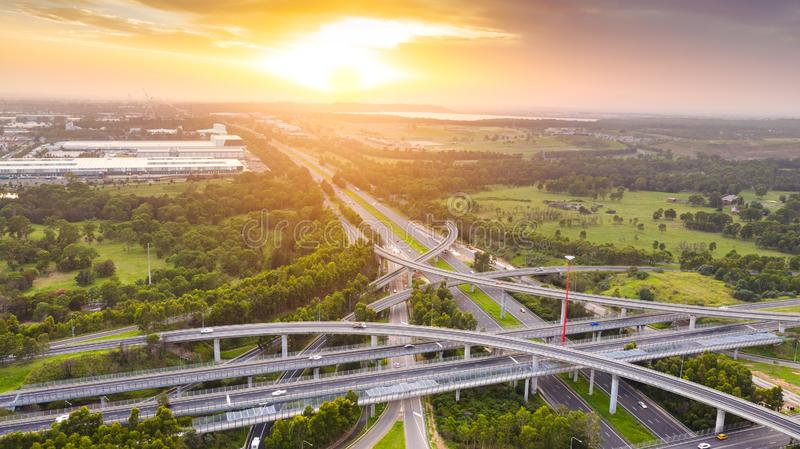 Aerial view of a highway interchange and overpass royalty free stock photo