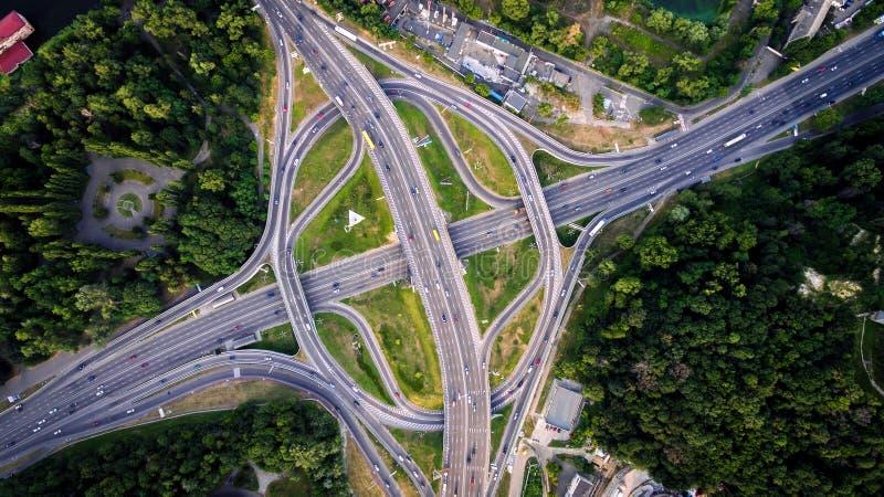 Aerial view of highway interchange. Paton Bridge. Kiev, Ukraine. stock photos