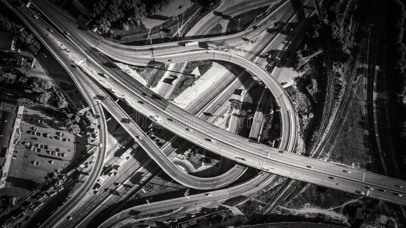 Aerial view of highway interchange. South Bridge. Kiev, Ukraine. stock photos