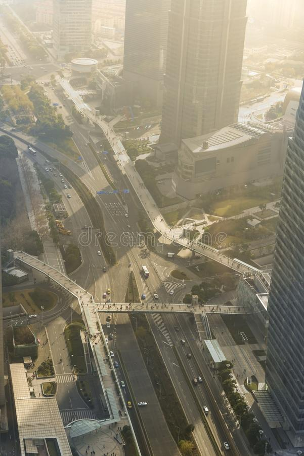 Aerial view of highway and interchanges of Shanghai city view fr. Om the Oriental Pearl TV tower, SHANGHAI, CHINA stock image