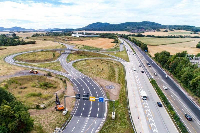 Aerial view of a highway intersection with a clover-leaf interchange Germany Koblenz stock images