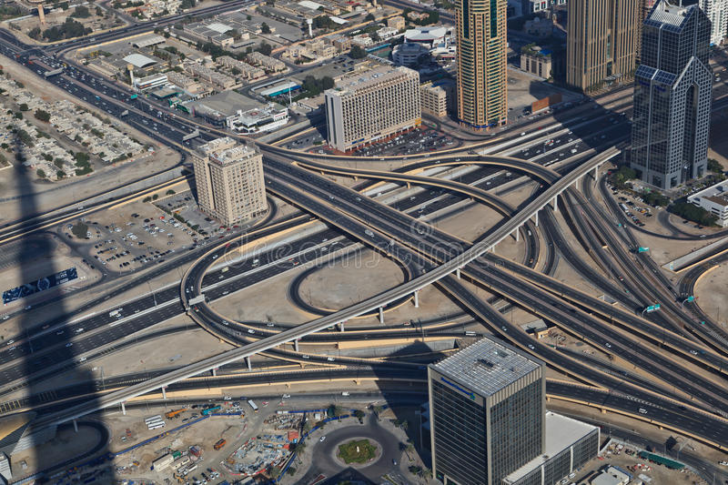 Aerial view of a highway junction stock image