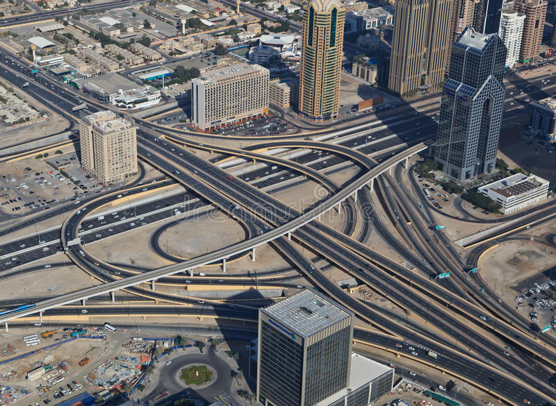 Aerial view of a highway junction royalty free stock photos