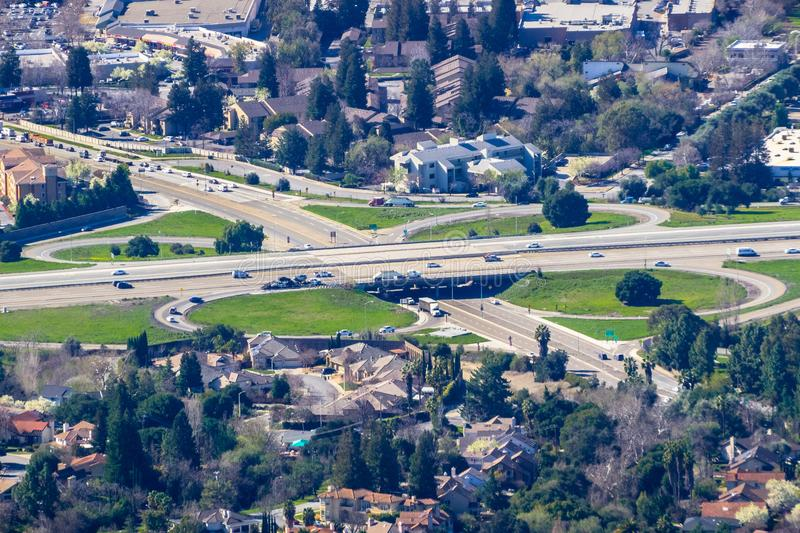 Aerial view of highway junction stock image