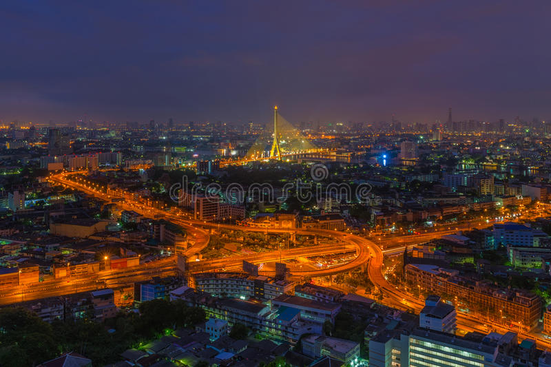 Aerial view of highway junction at night stock photo