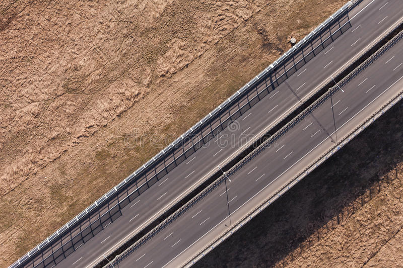 Aerial view of highway. In Poland stock photos