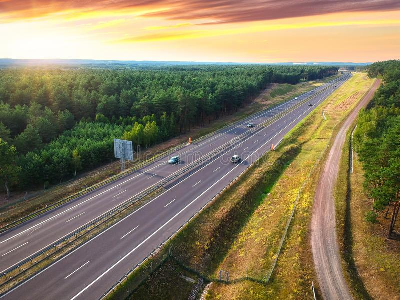 Aerial view of the highway in Poland at sunset stock photos