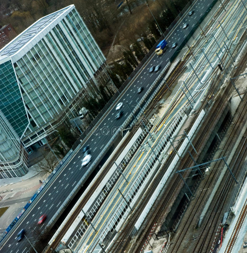 Aerial view on highway royalty free stock photography
