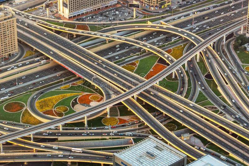 Aerial view of a highway road interchange in Dubai United Arab Emirates. Aerial view of a highway road interchange in Dubai, United Arab Emirates royalty free stock images