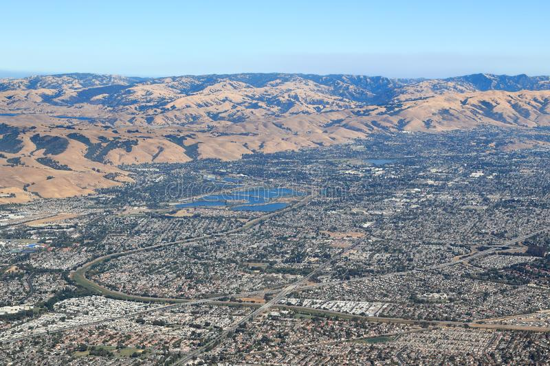 Aerial View of hills and suburbs in Bay Area stock photos