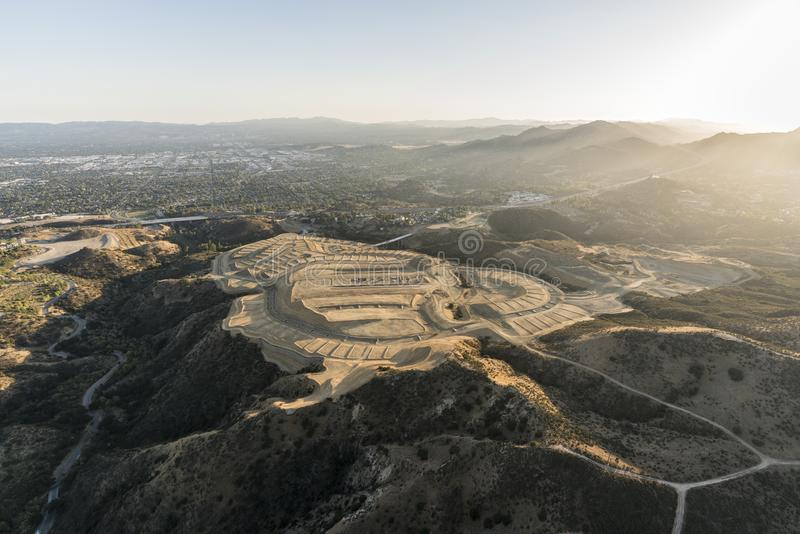 Hilltop Construction Grading in Los Angeles California. Aerial view of hilltop construction grading near the Porter Ranch community in the San Fernando Valley royalty free stock photo