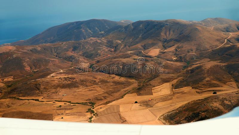 Aerial view of hilly landscape of island Limnos, Greece. royalty free stock image