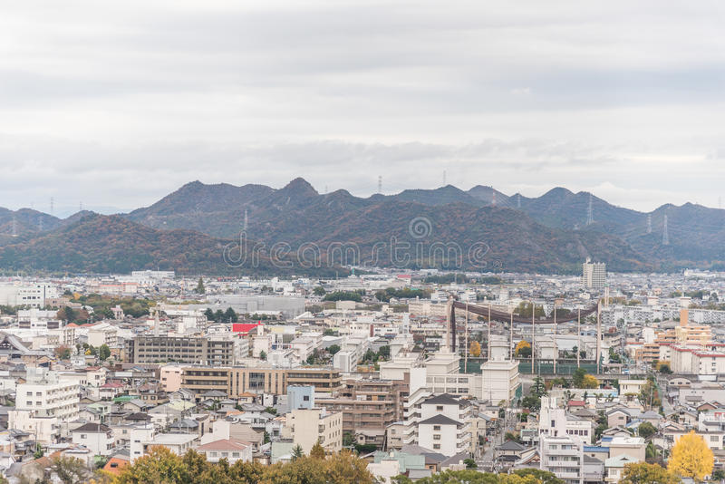 Aerial View of Himeji residence downtown from Himeji castle in Hyogo, Kansai, Japan stock images