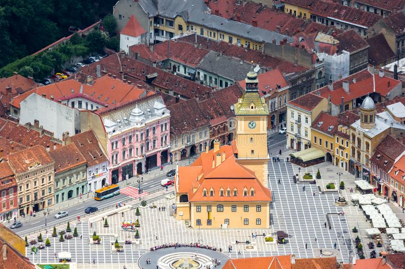 Aerial view of the historic city hall in Brasov stock images